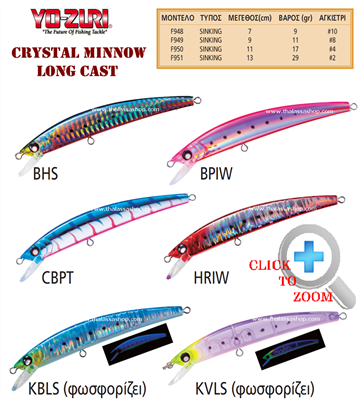 YO-ZURI CRYSTAL MINNOW LONG CAST 90mm